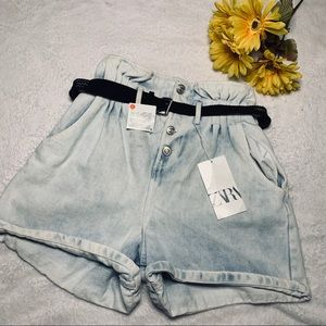 Zara High Waisted Light Wash Paper Bag Shorts